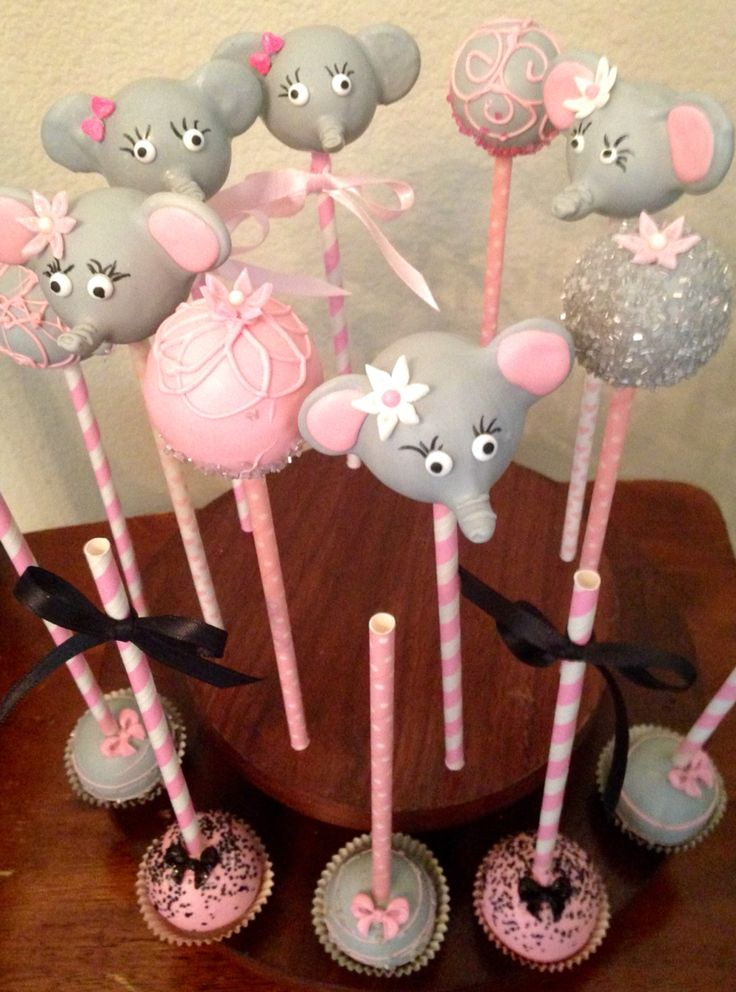 "Baby Shower Elephant theme Cake pops ""baby Dumbo"""