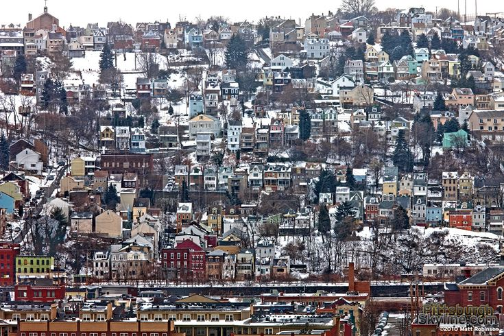 South Side Slopes in Winter - PittsburghSkyline.com - Original Photography from the City of Pittsburgh by Matt Robinson - Pittsburgh Photos and Prints for Sale