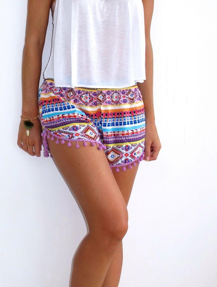 Pom+Pom+Shorts++Aztec+Print++Gym/Beach+Shorts+by+ljcdesignss,+$29.00
