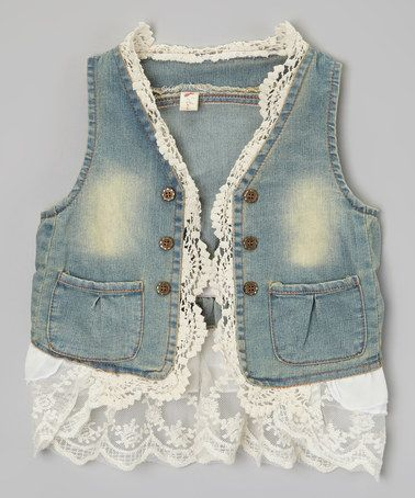 Another great find on #zulily! Blue Denim Lace Vest - Toddler & Girls by Kid Swag #zulilyfinds