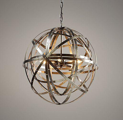 Orbital sphere pendant.Dining Rooms, Sphere Pendants, Small Pendants, Orbit Sphere, Sphere Small, Pendants Pewter, Dining Room Lighting, Restoration Hardware Baby, Small Foyers