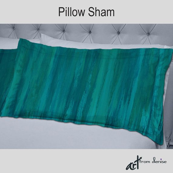 Abstract Decorative Pillow Shams For Teal Green And Turquoise Blue Home Decor By Denise Cunniff