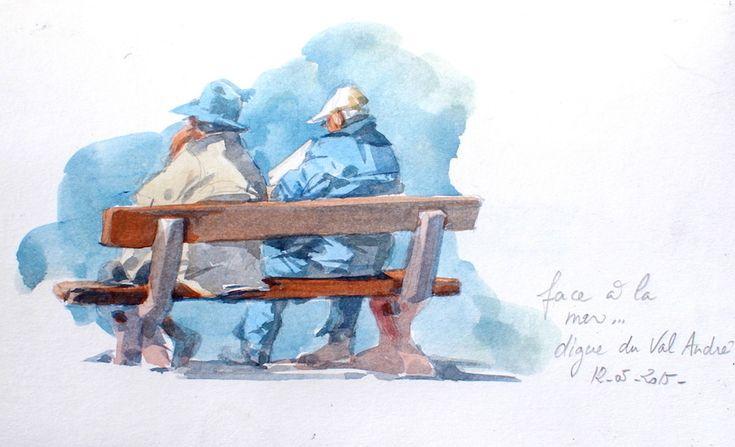 S'asseoir et regarder la mer... / Secteur Erquy , Val André, Bretagne, France. / Aquarelle. / Watercolor. / By Yann Lesacher, dit Yal.