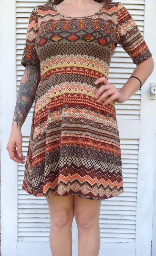 Andrea Missy Dress Short Sleeve Fall Colors Orange Brown Funky Geometric - M #AndreaMissy #SundressTeaDress #Casual