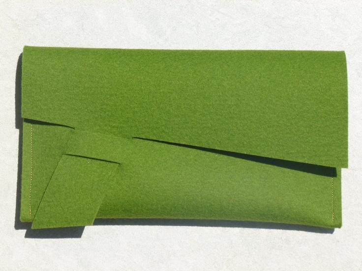 ArtAK GREEN Felt Clutch