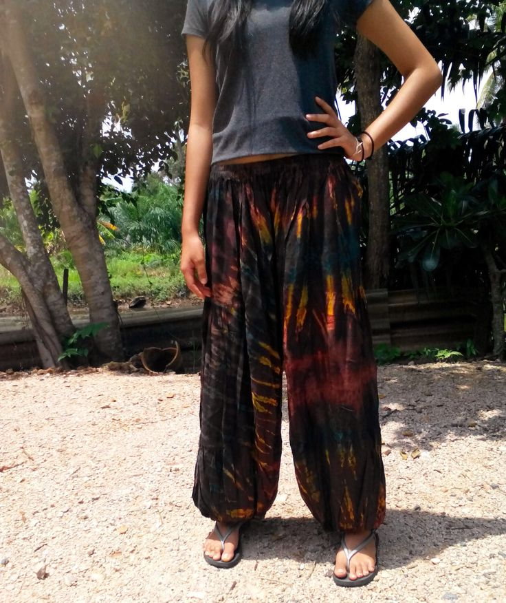 Ladies Tie Dye Pants Balloon Pants Trousers Baggy  Yoga Gym Beach  Brown Mix by thaihandmadeprods on Etsy https://www.etsy.com/listing/506467344/ladies-tie-dye-pants-balloon-pants