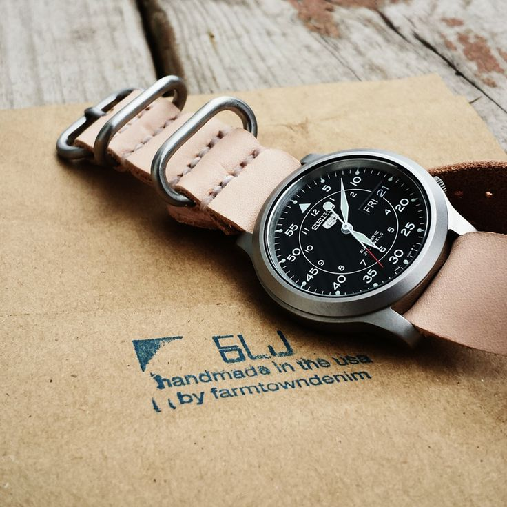 Seiko 5 (SNK809) on natural leather NATO strap by farmtowndenim.