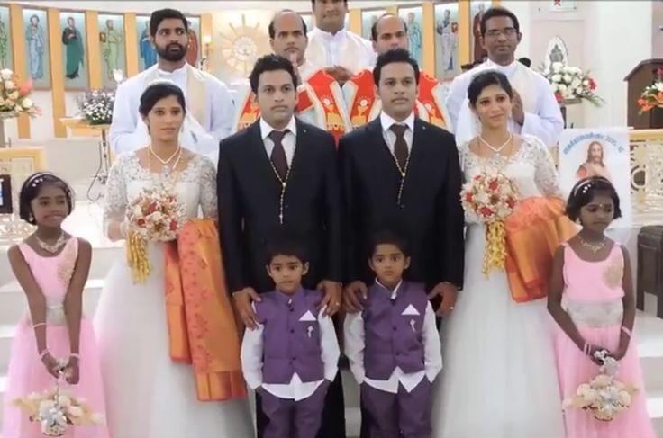 Δίδυμοι παντρεύονται δίδυμες που τους...παντρεύουν δίδυμοι ιερείς,κουμπάροι και παράνυμφοι