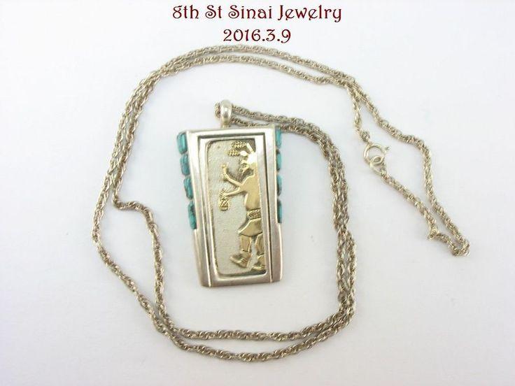 Estate Navajo Leonard Jim Sterling & 14K Gold Turquoise Mudhead Kachina Necklace #LeonardJim