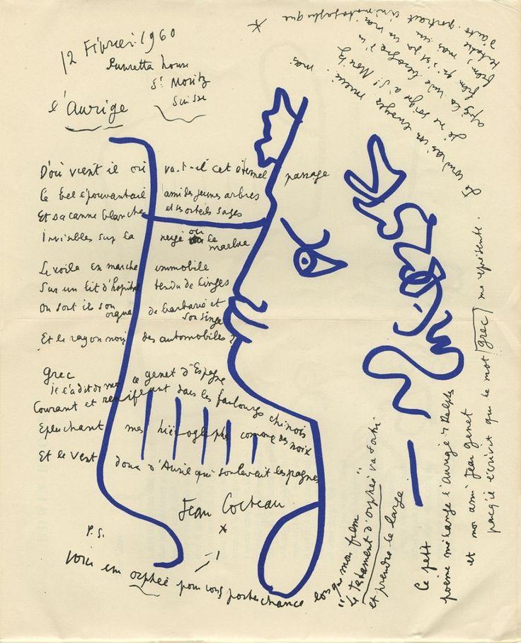 """dans-le-couloir: """"De Cocteau à Genet.  L'Aurige.  source: http://cocteau.biu-montpellier.fr """""""