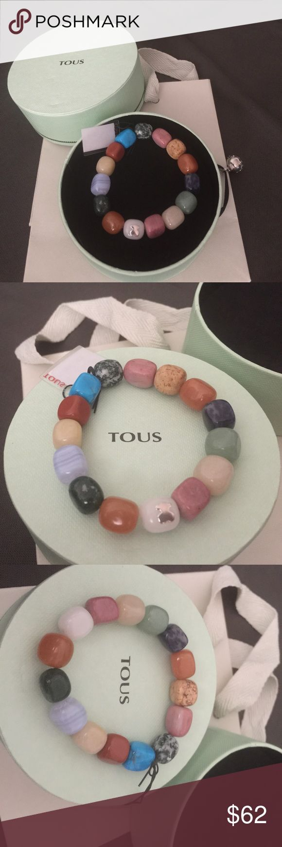 Authentic Tous Elastic Gemstones Bracelet NWT NWT AUTHENTIC TOUS ELASTACIZED BRACELET MADE UP OF VARIOUS GEM STONES. ON ONE OF THE STONES IS A STERLING SILVER BEAR. THE BRACELET IS ADJUSTABLE IN SIZE.  New and never worn. Tous box and shopping bag are included.   *****Sorry, the price is firm******* Get it less by PP or ♏️ercari. Tous Jewelry Bracelets