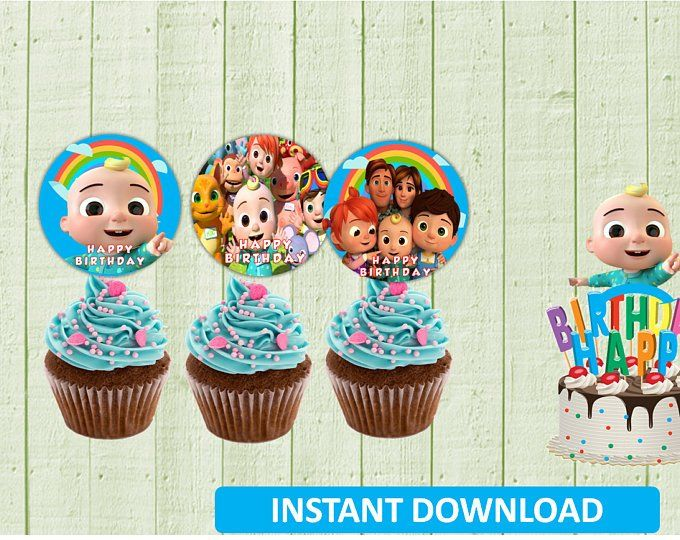 COCOMELON cupcake topper Birthday Party BALLOON CAKE BABY SHOWER SUPPLIES FAVOR