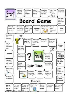 With this easy board game, beginners and elementary learners will practise vocabulary, spelling, asking questions etc. in an enjoyable way. The questions can be adapted to make it more challenging should it prove too easy. Let´s make learning fun! - ESL worksheets