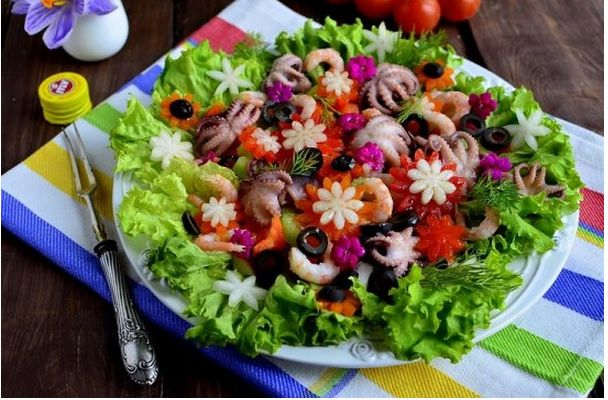 Salad with octopus and olives «Flower Meadow»