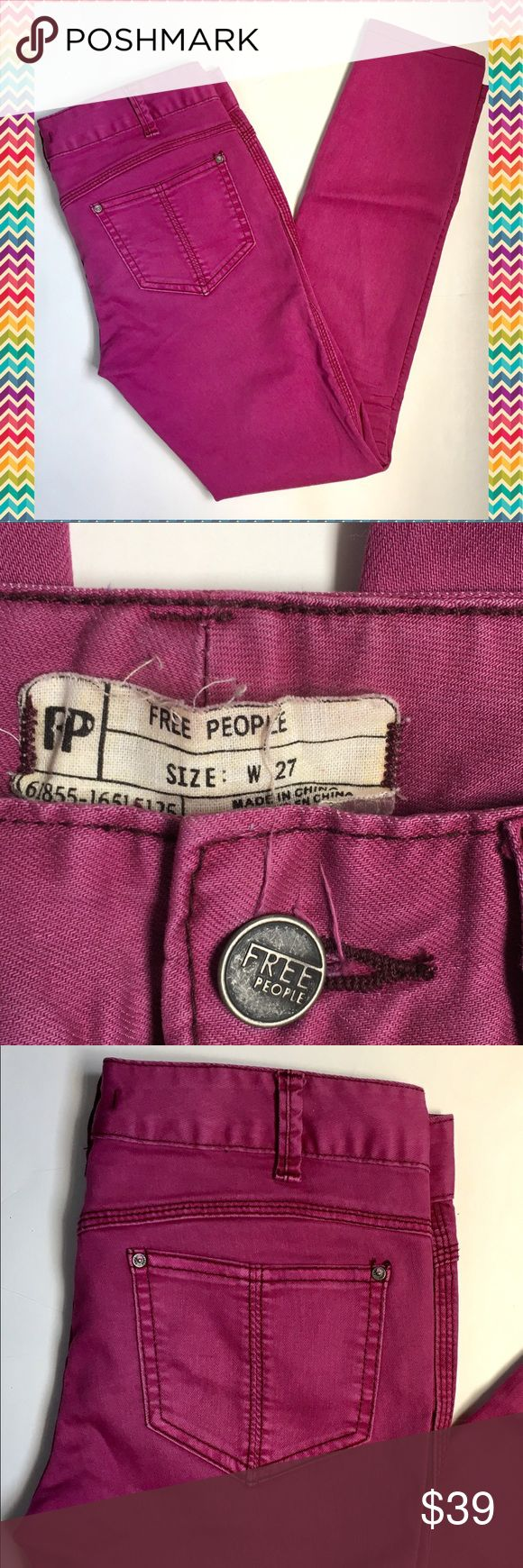 FREE PEOPLE Purple Skinny Pants Gorgeous purple color! 5 pocket style with skinny legs. Cotton blend fabric is very soft. Great condition! Free People Pants Skinny