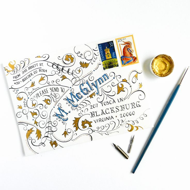 This typography art envelope tutorial shows you how to make some amazing mail art, and provides you with a printable template so you can make this envelope!