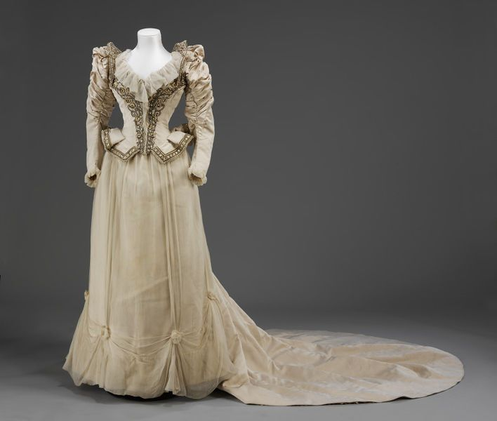 Edwardian corded silk wedding dress with pearl and paste bead embroidery and silk crêpe chiffon trimming by Stern Bros. [American], c. 1890