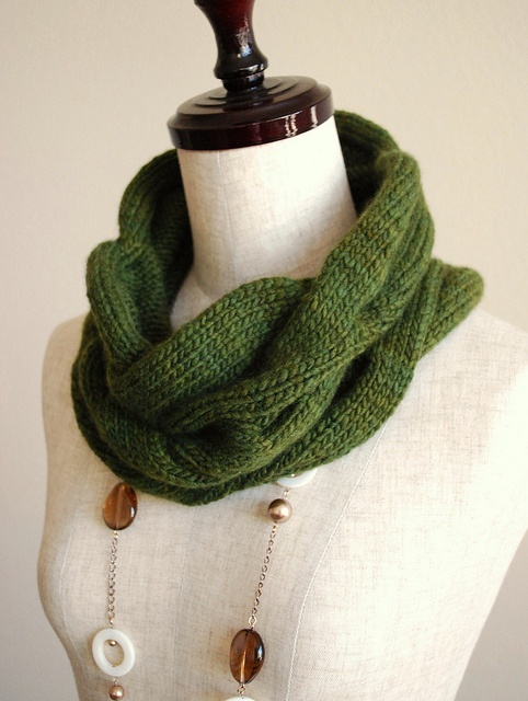 Burberry Inspired Cowl Neck Scarf by Julianne Smith. malabrigo Worsted, Olive...