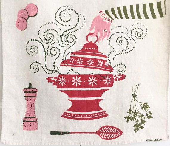 Linen Kitchen Towel Soup Tureen George Wright by NeatoKeen on Etsy