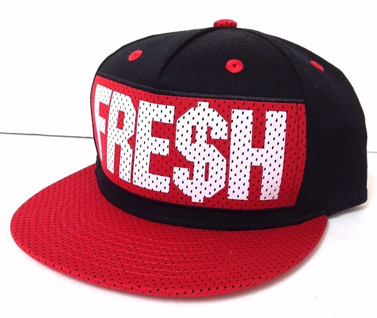 new FRE$H DOLLAR SIGN SNAPBACK HAT Red/Black Mesh-Look Fresh Flat-Bill Men/Women #Carbon #BaseballCap