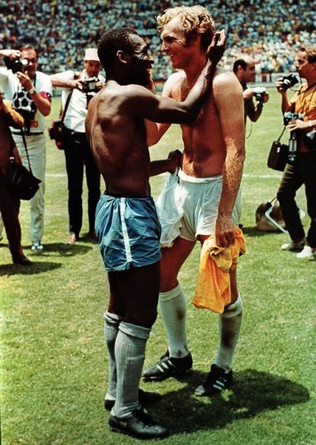 Pele and Bobby Moore by Peter Cornwell.