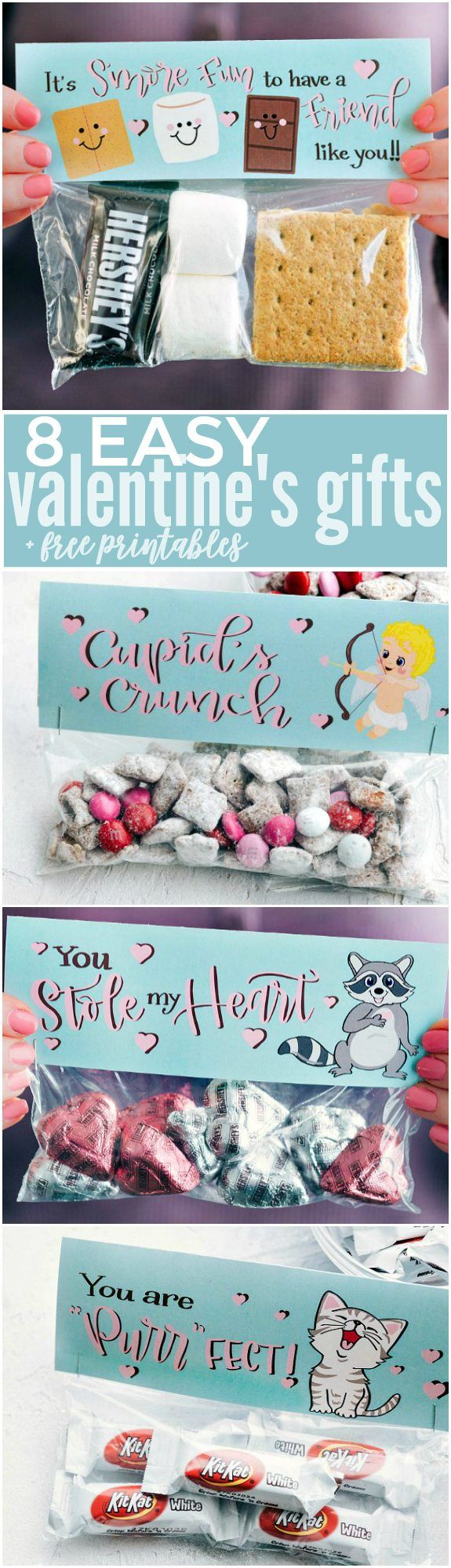 The CUTEST Valentine's Day Gifts -- so easy to make and FREE PRINTABLE bag t...