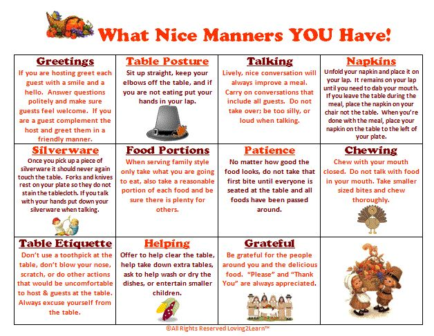 """Printable Etiquette Worksheets 