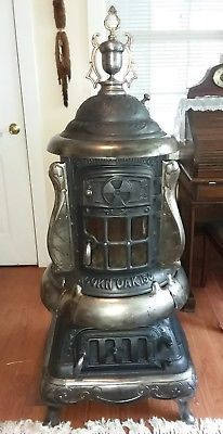 Details About Antique Parlor Stove Cast Iron Parlor