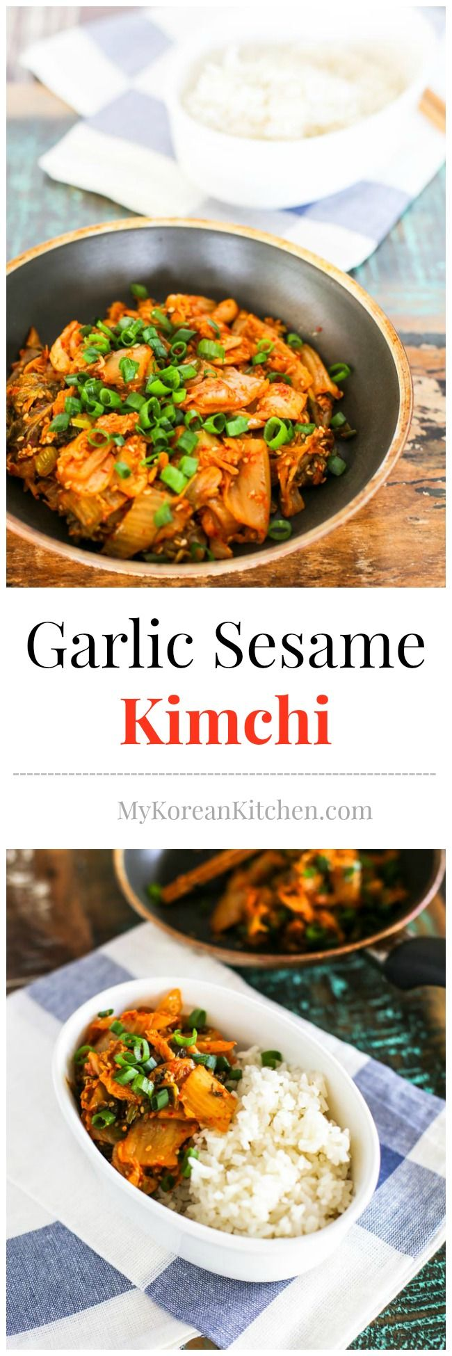 Garlic Sesame Kimchi: A simple, quick and easy to make Korean side dish that can transform your aged pungent Kimchi into a nutty aromatic relish | MyKoreanKitchen.com