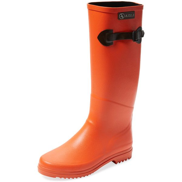 Aigle Chantebelle Pop Tall Rain Boot ($119) ❤ liked on Polyvore featuring shoes, boots, orange, short heel boots, wellington rubber boots, aigle boots, tall boots and knee high platform boots