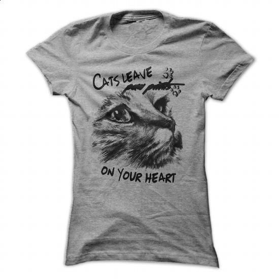 Cats leave paw prints on your heart - #t shirt designs #street clothing. I WANT THIS => https://www.sunfrog.com/Pets/Cats-leave-paw-prints-on-your-heart-89422103-Ladies.html?60505