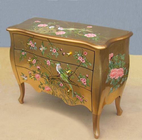 IDEA-----Комод золотой. Комод декоративный золото, розовые цветы