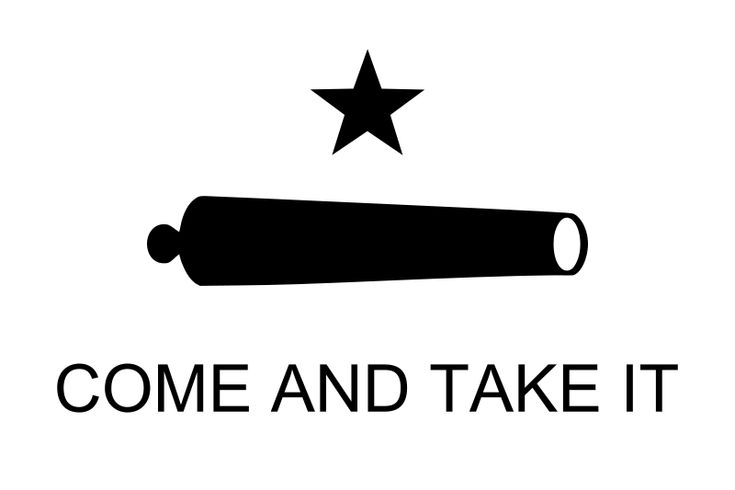 In March 1831, the Mexican Army loaned a small cannon to the colony of San Antonio. It was then transported to Gonzales, Texas. At the minor skirmish known as the Battle of Gonzales—the first battle of the Texas Revolution against Mexico—a small group of Texans successfully resisted the Mexican forces who had orders to seize their cannon. As a symbol of defiance, the Texans had fashioned a flag with a black star and an image of the cannon which they had received from Mexican officials.