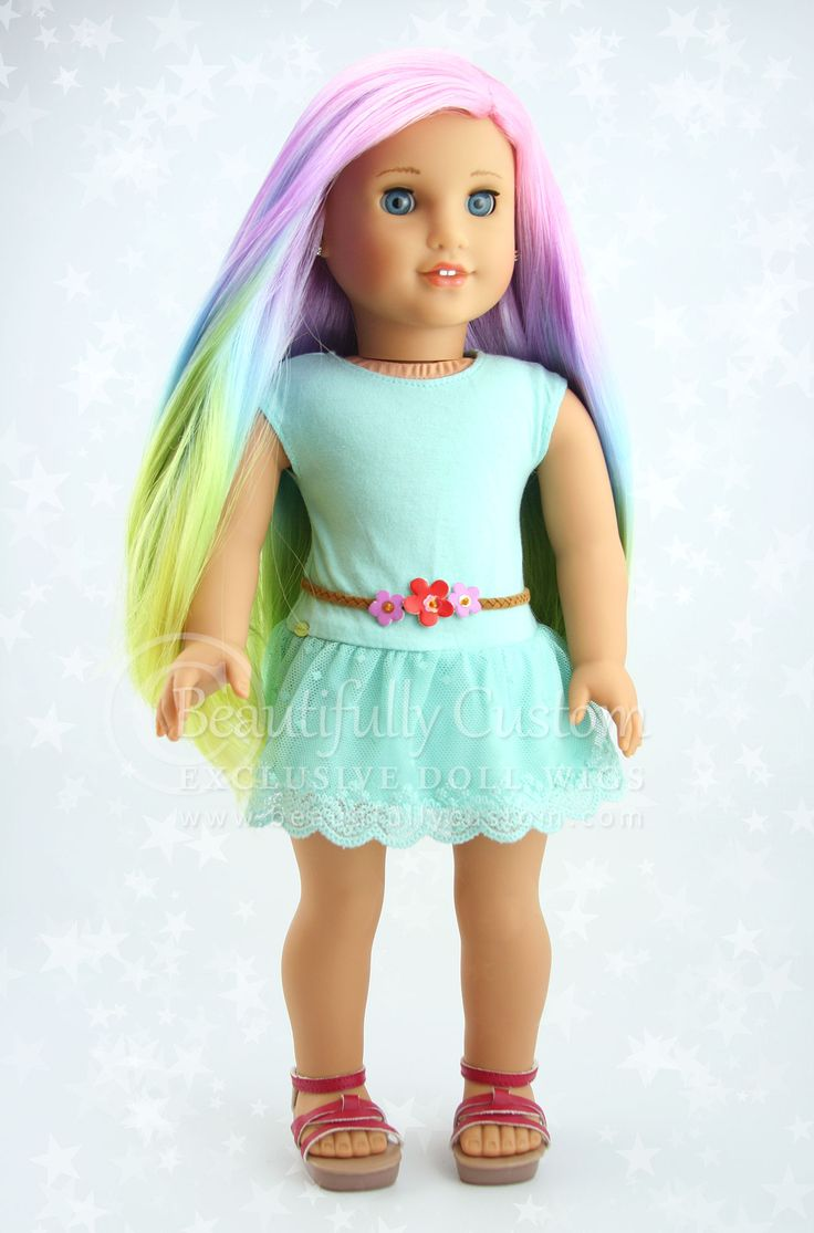 """Pretty Pastel"" Elegance Doll Wig for American Girl Dolls: Beautifully Custom Exclusive www.beautifullycustom.com (Pastel Rainbow Color Hair)"