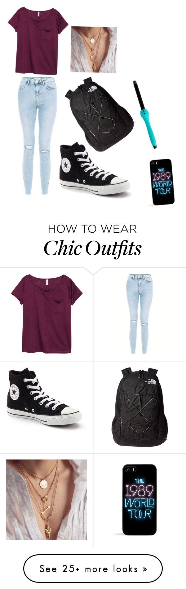 """Comfy School"" by maxiesansom on Polyvore featuring New Look, H&M, Converse, The North Face and Brilliance New York"
