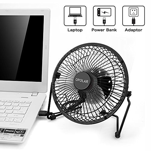 OPOLAR F501 Desktop USB Fan with Upgraded 6 Inch Blades, Enhanced Airflow, Lower Noise, Metal Design, USB Powered, Personal Table Fan, Mini Cooling Fan, Small Desk Fan, Quiet Office Fan