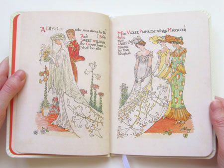 First published in 1905, A Flower Wedding by Walter Crane has been reprinted by the Victoria and Albert Museum.: Books Nerderi, Books Lust, Books Beautiful, 1905 Books, Cranes Wedding2, Flowers Wedding, Books Stuff, Artists Notebooks, Beautiful Illustrations