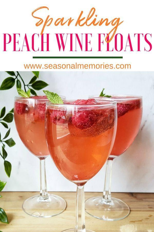 Sparkling Peach Wine Float Recipe Adult Drinks Peach Wine