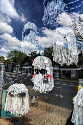 Optician window display made from mops