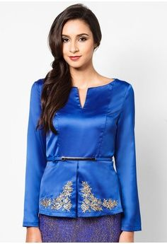 Embroidered Structured Peplum Top