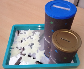 star activities for little ones - sort big and little stars into big/little cans