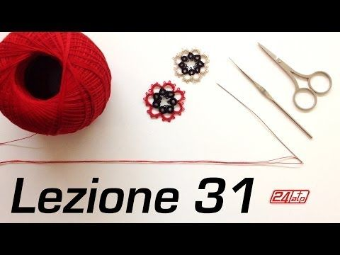 Chiacchierino Ad Ago - 30˚ Lezione Orecchino Con Perline Bijoux Tutorial Needle Tatting Stitch Count - YouTube