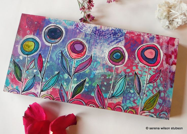 Pink and purple blooms, perfect for spring! This is an original mixed medial painting on a wooden cradle. The sides are painted black and the painting comes wired and ready to hang in its new home.