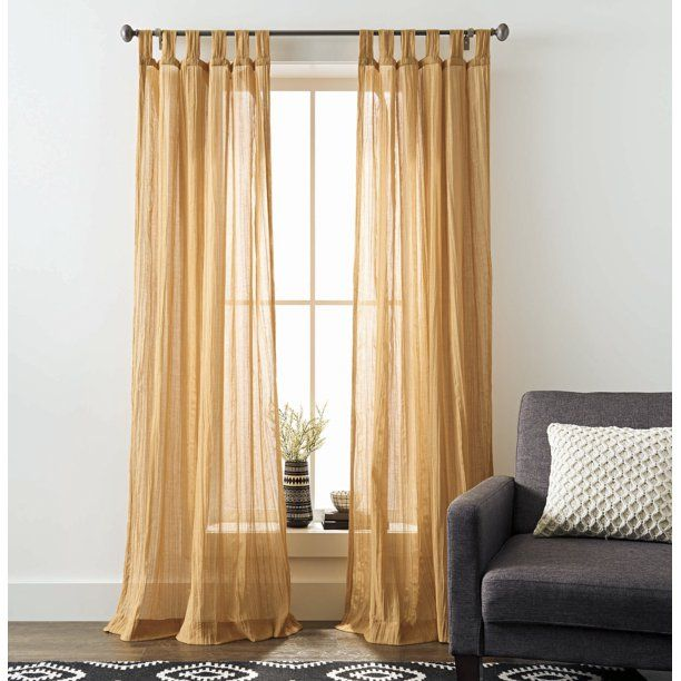 Better Homes And Gardens Arusha Tab Top Window Curtain Walmart Com In 2020 Gold Curtains Living Room Better Homes And Gardens Dining Room Curtains
