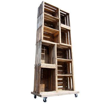 10 Apple Crate Display Unit on Wheels