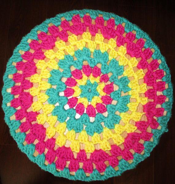 Crochet Bar Stool Cover Multi Colored Granny by CoralsChicBoutique