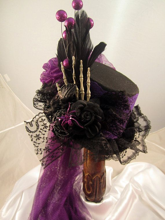 Halloween Top hat/ riding hat, Gothic black felt with purple lace, skeleton hand