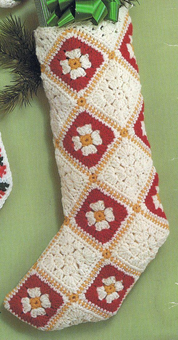 Crocheted Christmas Granny Square Stocking Vintage PDF by padurns, $2.50