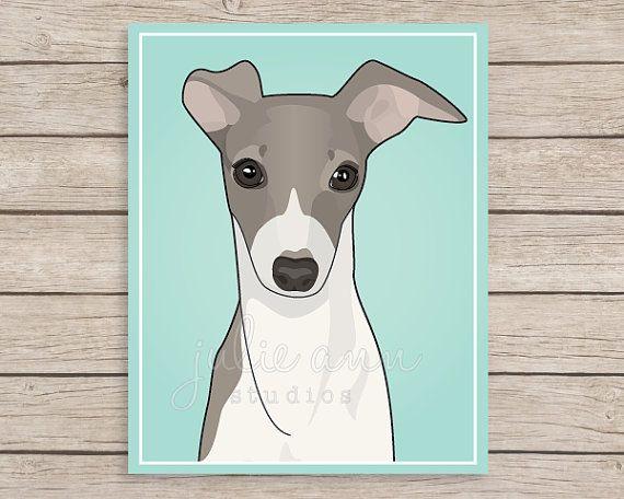Italian Greyhound Art Iggie Art Greyhound Art by JulieAnnStudios
