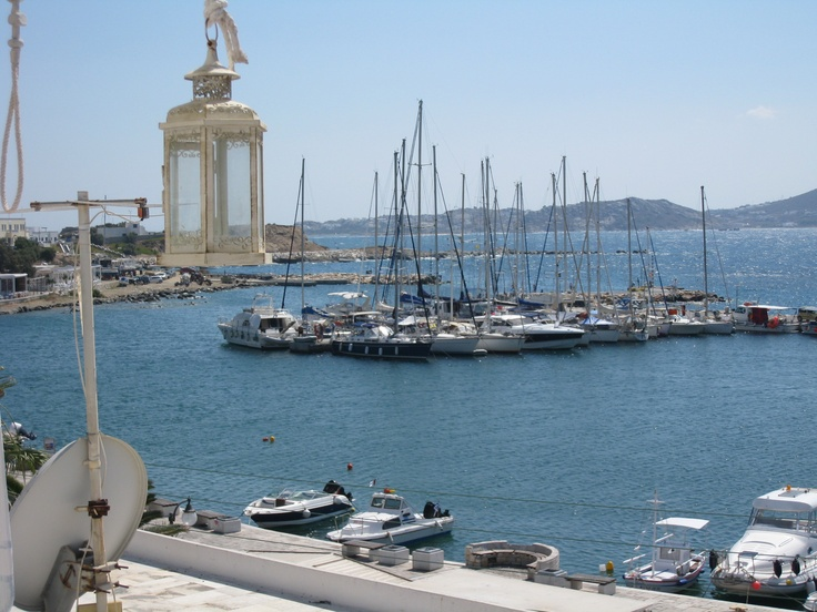 A balcony view of the yacht harbour. Naxos, Greece